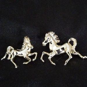 Goldtone prancing horse pins